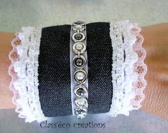 Denim and lace cuff