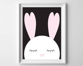 Bunny Nursery Printable Art, 8x10, 4:5 Ratio, Modern Wall Art, Instant Download, Digital Print Printable Art
