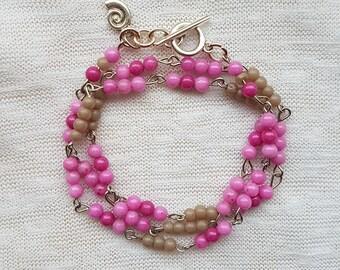 Wrap bracelet glass beads Pinky/Stonewash Tawny