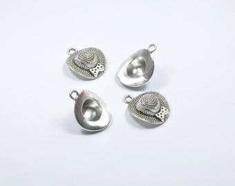 BR427 - Set of 4 silver metal hat charms