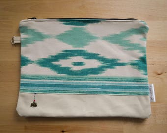 Pouch ethnic style, turquoise