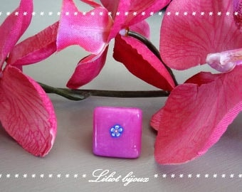 Pink square ring made by hand