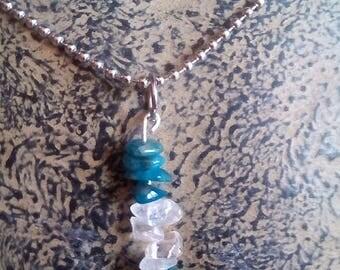 Pendant stone semiprecious blue apatite + free ball chain