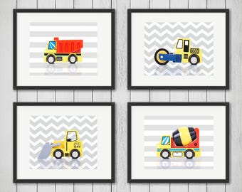 Set of 4 Construction prints, boys room decor, kids wall art, construction art, construction decor, construction print, nursery print