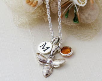 Silver Bee Necklace, Personalized Bee Necklace, Sterling Silver Bee Jewelry, Bee Charm Necklace, Silver Bee Pendant, Initial Bee Necklace