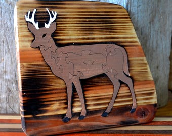 Lovely hand crafted Gray Deer Puzzle with aged wood Background - Cabin Display