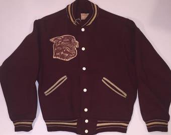 Spectacular Circa 1940's Bates College Size 36 Coat / Jacket with great sewn felt Bobcat mascot