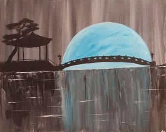Kyoto Moonscape - 20x16 Acrylic Painting