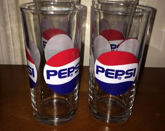 Pepsi Drinking Glasses - Matching - Set of 4