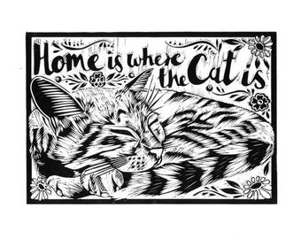 Home is Where the Cat is Lino Print