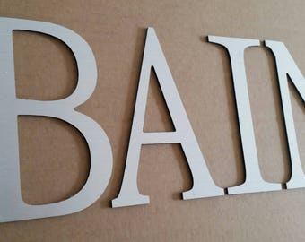 Decorative letters brushed aluminum bath, height 20 cm, length 56 cm