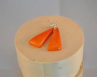Earrings Orange triangles of tagua (vegetable ivory)