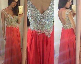 Hot Coral Prom Dress by Auténtica Boutique