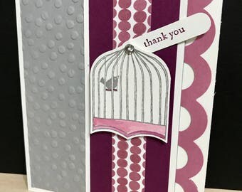Little Birdie Thank You cards 4 pack, little bird thank you card, birdcage thank you card, generic thank you card