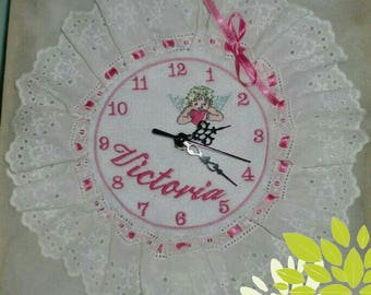 Wall clock with embroidery name idea personalized gift Valentine's Day dedication