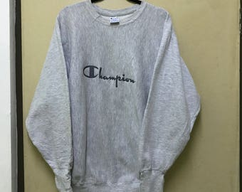 Vintage!!! Rare!!! Champion Sweatshirt big logo spellout pullover sweater embroidered