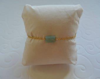 Cushion Amazonite bracelet on gold chain