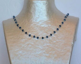 Petrol blue chalcedony necklace on silver chain.