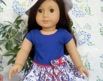 """Red White and Blue Dress with Hat for 18"""" and American Girl Dolls"""