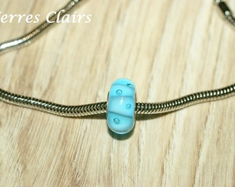 """Glass bead (charms) blue, """"bubbles"""" pattern"""