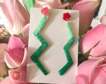 Post Modern Memphis Style Asymetrical Ombre Mint Green, Pink, & Red Glitter Zig Zag Drop Stud Earrings