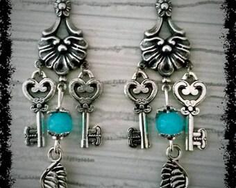 Retro style key earrings