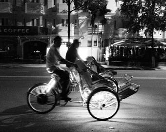 Trishaw on Nha Trang Street Vietnam in Black and White Instant Digital Download  Personal or Commercial Use