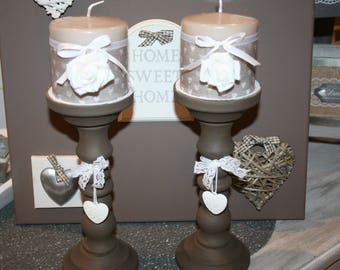 wooden shabby taupe and white lace and heart