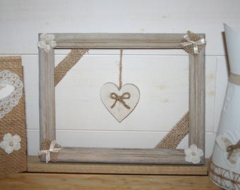 White burlap and floral heart frame