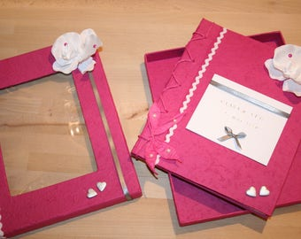 """Wedding guest book pink white and grey Orchid """"parchment"""" customizable"""