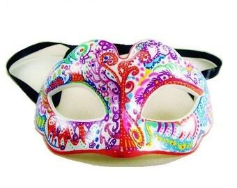 Wolf colorful Venetian mask handpainted wall decor