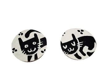 Earrings, Stud Earrings, Stud Earrings, cat, black, white, graph, boho