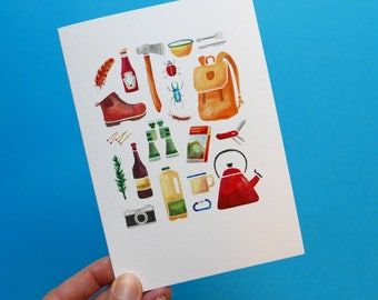 Illustrated camping greetings card. Watercolour birthday, outdoors, outdoorsy, travel, adventurer blank note card.