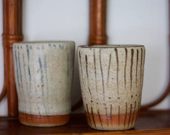 Handmade ceramic cups, set of two, drink ware, pottery, wheel thrown