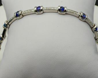 18kt White Gold 1.50 ctw Blue Sapphire with 1.00 ctw Diamond Tennis Bracelet