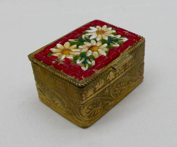 Vintage Made in Italy Brass Flower Daisy Micro Mosaic Design Pill Box