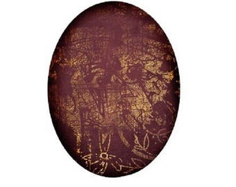 cabochon 18x25mm, gold and Burgundy