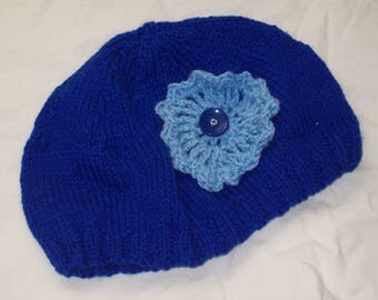 Ladies Hand Knit Blue Beanie Hat with Pale Blue Flower with Dark Blue Button - Small - New