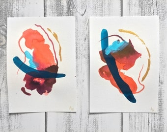 Original Mixed-Media Abstract Paintings on Paper - Set of 2