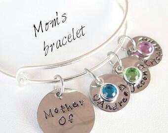 Mom Bracelet, Mother Bracelet Stamped Bracelet, Custom Bracelet, Gift for Mom , Gift for Mother