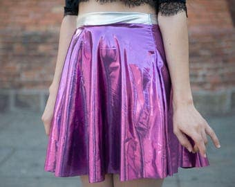 Caramel Shiny Elastic Pink Flared Skirt