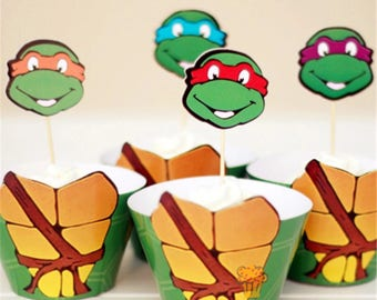 12x TMNT Teenage Mutant Ninja Turtles Party Food Cupcake Cake Topper & Wrappers. Party Supplies Bunting Lolly Loot Bags Favour Box Turtle