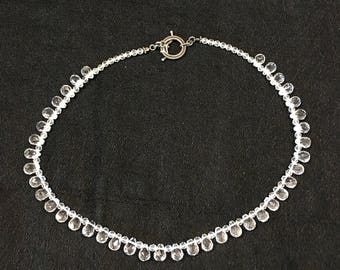 Vintage clear glass bead necklace