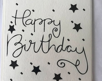 Hand lettered Happy Birthday