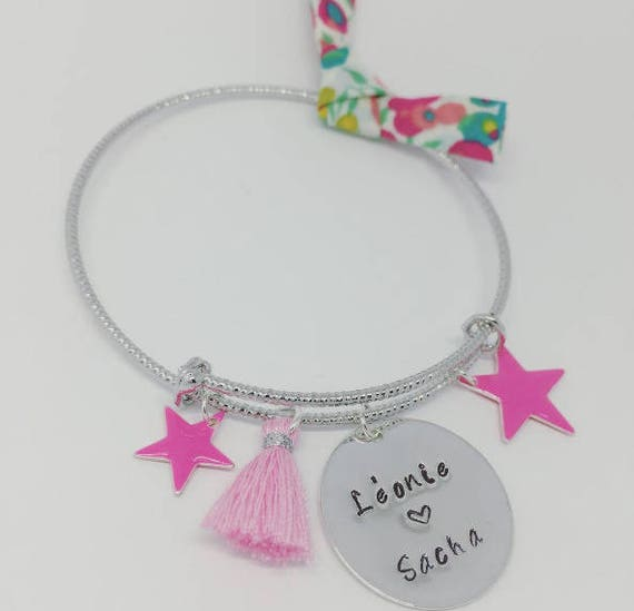 "Personalized Bangle featuring a PINK ""Hello love"" Personalized engraving by Palilo"