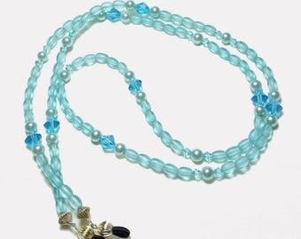 Sky Blue Pearl Crystal Beaded Eyeglass Chain