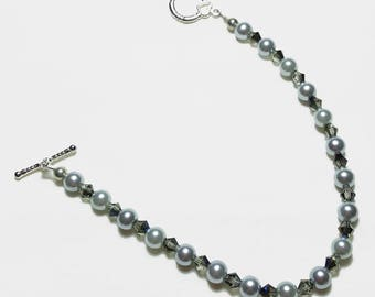 Silver Pearl Black Grey Crystal Wedding Bridal Bracelet