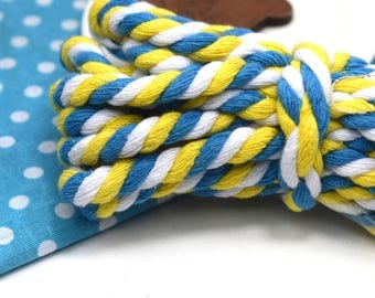 x 1 meter of cotton with 8mm blue yellow white vintage costume