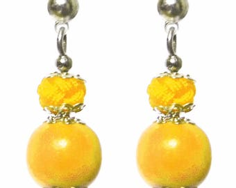Small stud earring Pearl wood and lemon yellow satin cord
