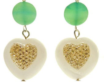 Heart Earrings romantic mother of Pearl Gold rhinestone and Valentine's Day Green